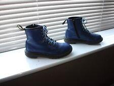 OLDER GIRL'S/BOY'S DR MARTEN'S DELANEY AIR WAIR BLUE LEATHER BOOTS SIZE UK 13
