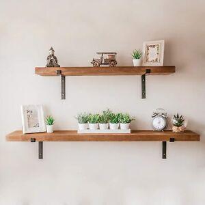 Rustic Wooden Wall Shelf with 2 Black Metal Brackets Heavy Duty 100cm or 140cm