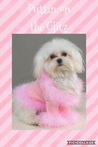 Puttin on the Glitz Dog Sweater Fur Trim Necklace Pink Black White Lots of Sizes