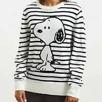Peanuts Men's Sz Small Snoopy Sweater White with Black Stripes Urban Outfitters