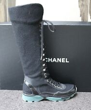 NIB CHANEL LOGO SPARKLY BLK TWEED TALL FASHION LACE UP SNEAKERS BOOTS Shoes 38.5