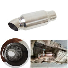 """New Polished 2.5"""" Inlet to 2.5"""" Outlet Car Exhaust Muffler Resonator 3.5"""" Round"""