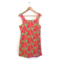 Lilly Pulitzer Dress M Pink Orange Green Palm Tree Print Cotton Women's VTG NWT