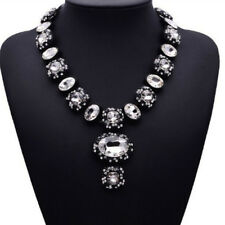 Weiß Glas Strass Kette Statementkette Halskette Collier Modeschmuck schwarz neu
