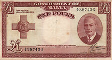 Government Of Malta One Pound 1949 banknote