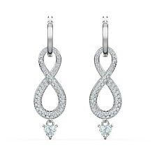 Swarovski Crystal Infinity Pierced Earrings, White, Rhodium Plated 5520578