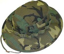 """Mil Issue 1968 3"""" Brim Vietnam Rip-Stop Woodland Camo Gen II ERDL Boonie Hat 575"""