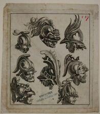 UNBEKANNT (16.Jhd), Gesichter und Prunkhelme, um 1750, Kupferstich
