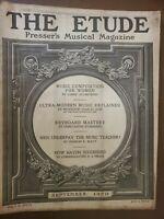 """THE ETUDE PRESSER'S MUSICAL MAGAZINE """"SEPTEMBER 1920"""" VINTAGE RARESHEET MUSIC"""