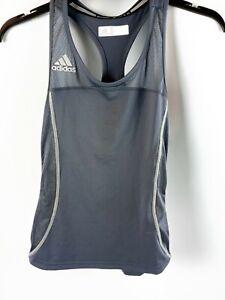 Adidas Women's Activewear Gray Tank Top white Trim Size Small