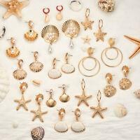 Women Pearl Sea Shell Pendant Statement Dangle Drop Earrings Bride Jewelry ~