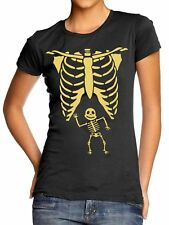 Skeleton Rib Cage with Baby T-Shirt Pregnant Halloween Costume Maternity L328