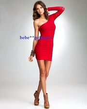 NWT bebe red off shoulder one shoulder long sleeve slash bodycon top dress XS S