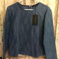 Zara Womens Blouse small Denim Linen Blend Career Blue BNWT