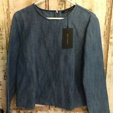 Zara Womens Blouse medium Denim Linen Blend Career Blue BNWT