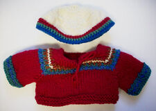 Red blue green Bear doll sweater and cap hand knitted