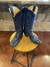 VINTAGE LARRY Mahan BLUE LEATHER  WESTERN COWBOY BOOTS WOMENS 7 B
