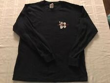 Fruit Of The Loom Trader Long Sleeve T Shirt Navy Blue Cotton Adult Large TS9