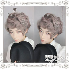 Gothic Lolita Men's Short Curly Cosplay Hair Wig Pink Gray Gradient Harajuku