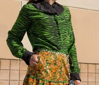KENZO H&M BLACK GREEN TIGER PRINT BLOUSE SHIRT TOP SIZE UK12 EUR38 US8