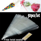 50X Clear Party Gift Chocolate Sweet Popcorn Halloween Candy Bag With Twist Ties