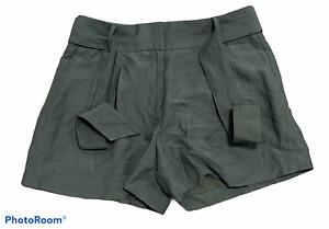 Woman's ANN TAYLOR Green Linen Blend Above Knee Shorts Bottoms Size 2 NWT