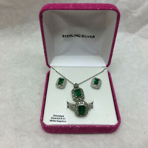 Ladies Jewelry Set Ring Necklace Earrings by P M Simulated Emerald & Sterling