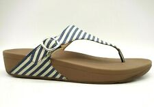 Fit Flop Striped Canvas Buckle Casual Slide Thong Sandals Shoes Women's 11