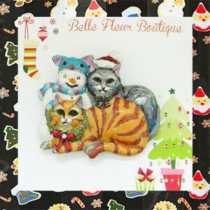Kirks Folly Christmas Kitty Cats & Snowman Pin Pendant ST & Holiday Treats Scarf