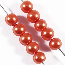 100 perles Nacrées 4mm Orange verre de Bohème