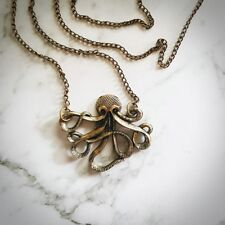 Octopus Gold/Copper Pendant Necklace - Steampunk - Gothic