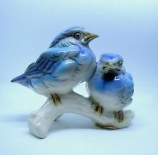 """Goebel double Blue Bird 38135-08 Porcelain Figurine 2 Bluebirds 4"""" vtg W Germany"""