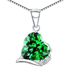 925 Sterling Silver 6.06 CT Created Emerald Heart Cut Necklace Pendant