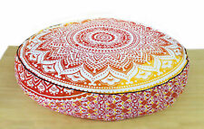 Indian Red Ombre mandala Cotton Cushion Cover Yoga Pouf Floor Pillow Case Round