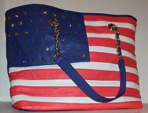 "American flag handbag purse Betsey Johnson 12"" x 19"" x 6"""