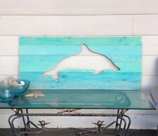 Large 4 foot dolphin wall hanging with multi colored blue distressed boards art