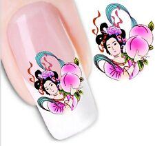 Nail Art Sticker Water Decals Transfer Geisha Japanese Lady Girl (XF1265)