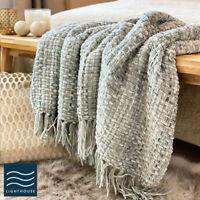Luxury Soft Woven Knitted Thick Light Silver Grey Sofa Blanket Throw Fringed