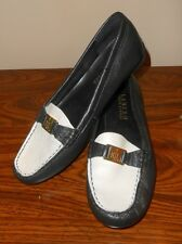 RALPH LAUREN Leather Black & White Driving Shoes Gold Clasp Size 8 Narrow 8N