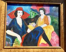T. Fournier Two Women having Tea Oil Painting Modern Impressionism on Canvas