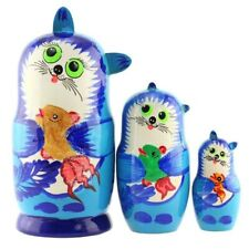 New 5'' Tall Hand Painted Russian Nesting Doll Cats 3 Pc Set Made In Russia