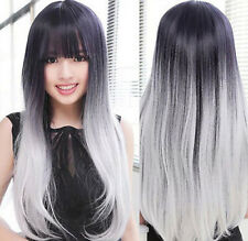 Hot Sell Fashion Sexy Long Black Gray Straight Women's Lady's Hair Wig Wigs +Cap