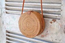 Round Basket Bag Straw Bag Rattan Round Bag Basket Woven Shoulder Market Basket