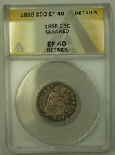 1858 Seated Liberty Quarter ANACS EF-40 Details Cleaned (24)