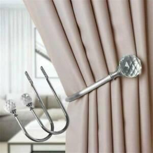 2x Large Metal Crystal Glass Curtain Holdback Wall Tie Back Hooks Hanger Holder.