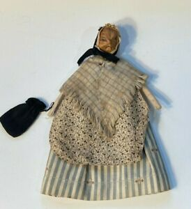 Folk Art Old Granny Doll - Hand Carved Wooden Squirrel Face w Original Clothes
