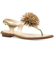 0a6eaafed13 NIB Size 5.5 Michael Kors Lolita Leather Gold Pom Pom Thong Sandals