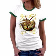 Kawaii Ramen Funny Women Ringer T-Shirts Cotton Short Sleeve Tee summer tops