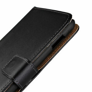 For HTC One M8 Black Genuine Real Leather Wallet Card Slot Case Cover Stand
