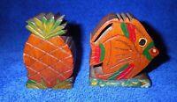 Cool Vintage Hawaiian Koa Wood Salt and Pepper Shakers Pineapple and Fish Hawaii